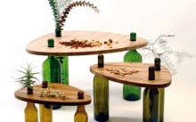 ไอเดียโต๊ะน้ำชารีไซเคิล จากแผ่นไม้และขวดแก้ว สร้างสรรค์ผลงานน่ารักๆ